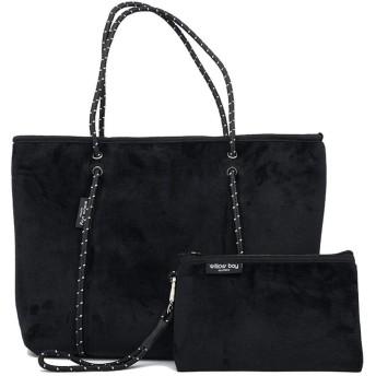 [ウィローベイ] ベルベットネオプレントートバッグ ポーチ付き ジップファスナータイプ Black [並行輸入品]