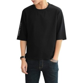 半袖 Tシャツ メンズ 半袖Tシャツ 無地 五分袖 メンズ カジュアル トップス おしゃれ カットソー 春 夏 黒 XL