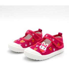 [STYLISH-KID] 子供靴 スリッポン 女の子 スニーカー ガールズスリッポン キッズ シューズ 13/14/15/16/17/18cm センチ 上履き しゅんそく 通学 入学 運動靴 こども 靴 ベビー ベビーシューズ キャンバス マジックテープ 秋 履きやすい かわいい ウサギ 花柄 (16cm, ローズ)