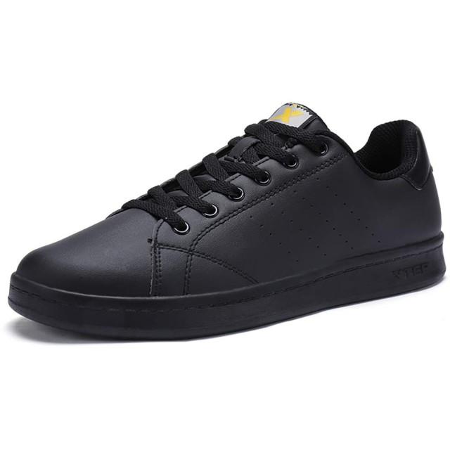 [XTEP] メンズスニーカー 黒 白 カジュアルスポーツシューズ 通気 通学靴 滑り止 め軽量 24.5cm-27.5cm (24.5cm, ブラック)