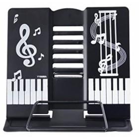 書見台 ブックスタンド 6段階調整可能 かわいい 音符プリント 折りたたみ式 角度調節 本立て 軽量 移動式 読書台 譜面台 卓上 インテリア