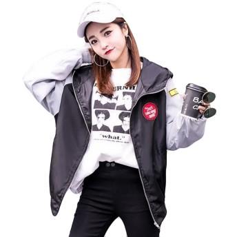 (ニカ)レディー スジャンパー コート 春 秋 ブルゾン ジャケット 長袖 薄手 韓国風 BF風 シンプル ブルゾン 原宿系ライトグレーT1