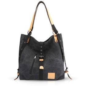 NICOLE&DORIS ファッション ハンドバッグ レディース キャンバス 斜めがけバッグ ショルダーバッグ おしゃれ カバン 大容量 シンプル 大学生 旅行 iPad/A4収納 カジュアル ブラック