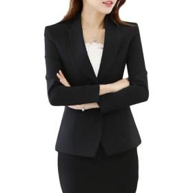 ZhongJue(ジュージェン)レディース テーラードジャケット スリム 無地 ブレザージャケット ショート丈 スーツ アウター フォーマル 通勤 ビジネス オフィス カジュアル(14黒)