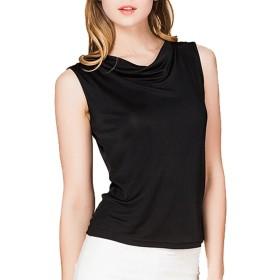 (MAYUDAMAシルク)シルク100% シルクニットTシャツ カットソー ドレープ レディース 選べるサイズ・カラー (M, ブラック)