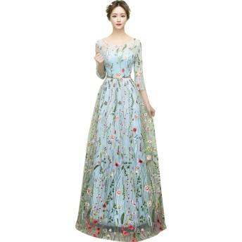 花柄 刺繍 ロング ドレス