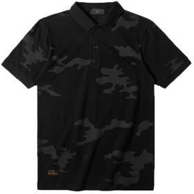 JIANGWEIポロシャツ メンズ Tシャツ 半袖 迷彩柄 ゴルフウェア トップス ストリート系 人気 スポーツ 運動会 春 夏 ブラックM