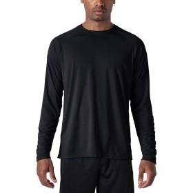 TACVASEN アウトドア レジャー Tシャツ メンズ 無地 カットソー ロングスリーブ Tシャツ UVカット ラッシュガード 日よけ 作業用 春 ブラック 2XL