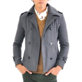 (スペイド) SPADE Pコート メンズ メルトン コート ショート丈 ウール 【e315】(XLサイズ,チャコール)