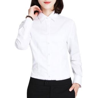 形態安定 吸水速乾 スリム 襟付き (4カラー/5サイズ)オフィス ビジネス フォーマル ブラウス ワイシャツ レディース シャツ 長袖 白 ホワイト ピンク ブルー S M L XL 2L Le ciel clair (ルシェルクレール) ホワイト S