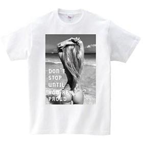 301-sanmaruichi- Tシャツ メンズ 半袖 おしゃれ セクシー sexy フォト モノクロ 水着 外人 ビーチ 夏 クルーネック Uネック ユニセックス 男女兼用 プリントTシャツ ホワイト S