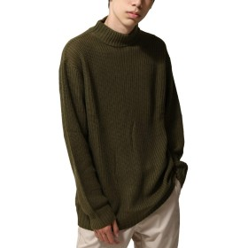 [ジップファイブ] ZIP FIVE ニット メンズ セーター モックネック ハイネック リブ編み 長袖 ざっくり 7GG 無地 ファッション 72108063 4KHAKI L