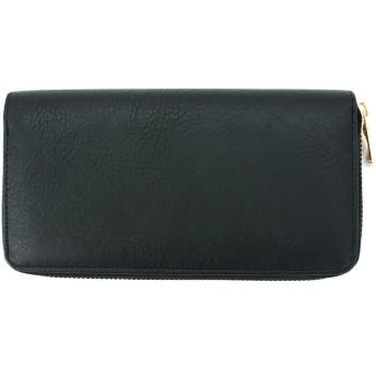 財布 レディース 長財布 レディース かわいい 無地 ラウンドファスナー ウォレット ブラック
