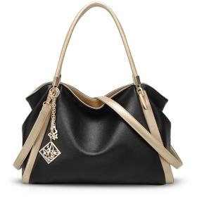 NICOLE&DORIS 新しい女性のためのハンドバッグトートバッグショルダーバッグ手提げかばん肩掛けかばん2WAYレディース欧米ファッションおしゃれカジュアルチャーム付き柔らかい大容量合成皮革黒
