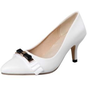 Melady レディース 可愛い 蝶結び パンプス ミニヒール ポインテッドトゥ スリップオン エレガント オフィス パンプス ミッドヒール 結婚式 パーティー 靴 Yellow Size 34