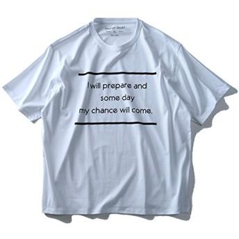 DANIEL DODD オーガニックプリント半袖Tシャツ(my chance will come) azt-180221 大きいサイズ メンズ【900.ホワイト-4L】