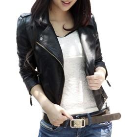 レザージャケット [Marshel] レディース バイク ライダース ジャケット ブラック Lサイズ