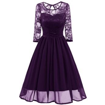 レース 刺繍ドレス レディース