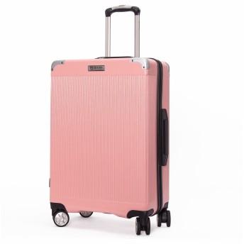 クロース(Kroeus) スーツケース ファスナー式 大型キャスター 8輪 静音 キャリーケース 大容量 軽量 旅行 出張 TSAロック搭載 エンボス加工 傷に強い ソフトなハンドル 取扱説明書付 S ピンク