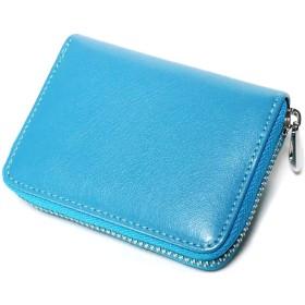 ブルー F ミニマル財布 メンズ ラウンドファスナー 二つ折り 財布 レザー 本革 ラウンドジップ コンパクト スリム 大容量 サイフ ブランド 牛革 革 男性 小銭入れあり カード大容量 コンパクト 大人 紳士 ビジネス ウォレット wallet mzyo-0021-F-blue