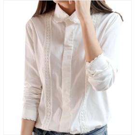 (ロンショップ)R.O.N shop 花柄 刺繍 ブラウス シャツ 上品 清楚 長袖 綿 コットン フラワー レース 白 (L)