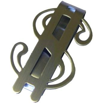 サージカルステンレス マネークリップ $ ドルマーク型 ワイド 316Lステンレス 金属アレルギー軽減 アレルギーフリー (20:シルバー)