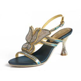 [HUAN] 女性の靴レザー夏の秋のコンフォートサンダルチャンクヒールオープントゥクリスタルバックルウェディングパーティー&イブニング (Color : F, サイズ : 38)