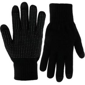手袋 バイク 登山 トレッキング グローブ 裹起毛 メンズ 作業 レディース こども用 女の子 防水 ニット 滑り止め付 おしゃれ フリーサイズ アウトドア(ブラック)