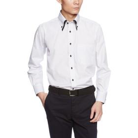 [ドレスコード101] 長袖ワイシャツ メンズ (形態安定 ワイシャツ) ビジネス Yシャツ SHIRT-Z Z016 ホワイト(ストライプ) M