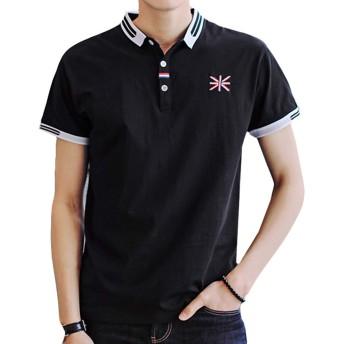 Gobuye メンズ ポロシャツ poloシャツ 半袖 綿 無地 サッカー ゴルフ ゴルフウェア 春 秋 冬 ビジネス シンプル 通気性 吸汗速乾 3釦仕様です 春夏季対応 夏服 メンズ Go871 (L, ブラック)