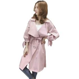 PASA トレンチコート レディース ロングコート スプリングコート アウター ジャケット 薄手 通勤 OL きれいめ 秋 ゆったり スリム 大きいサイズ ピンクS