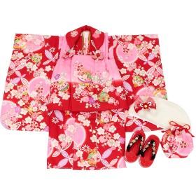 (キステ)Kisste 《七五三》 被布9点セット 女の子用 <花うさぎ> 3歳 8-6-00570 赤×ピンク (570)
