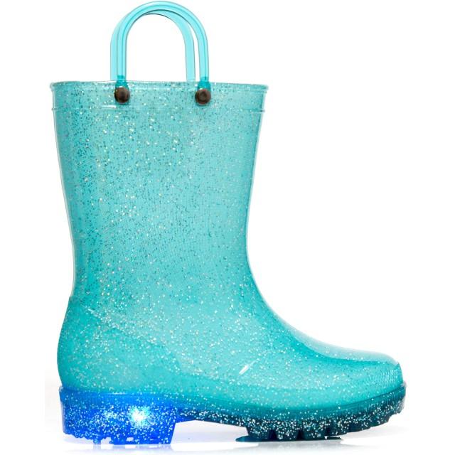 MOFEVER キッズレインブーツレイン子供用長靴ハンドルレインブーツキッズジュニア女の子雨靴おしゃれレインシューズ滑り止めレインブーツチャイルド長靴防水軽量梅雨対策(ブルー14.0センチ)