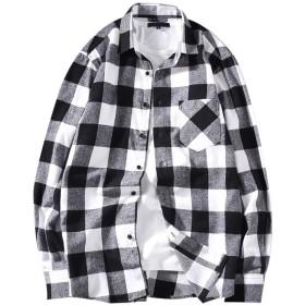 CEEN メンズシャツ 長袖 チェック柄 カジュアル ワイシャツ 綿 トップス ネルシャツ