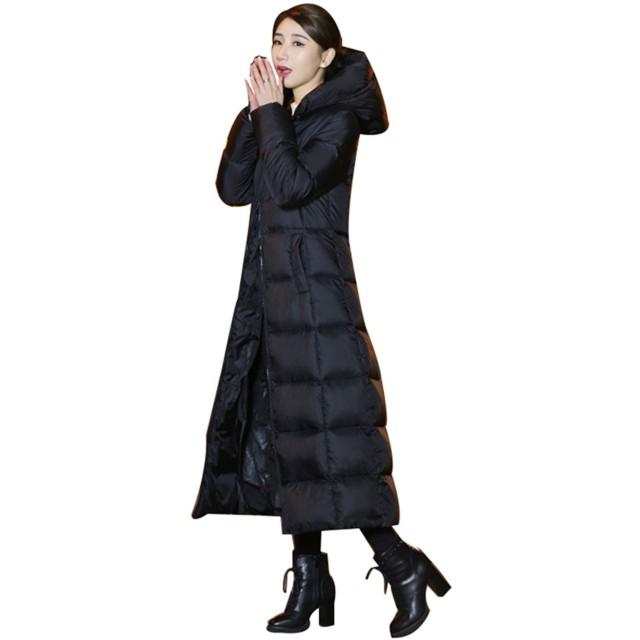 LZLダウンコートレディースロング きれいめ ダウンジャケット大きいサイズ アウターコートフード付き down jacket 暖かいレディースダウンコート 防寒 トレンチコート ロングダウンコート (XL)