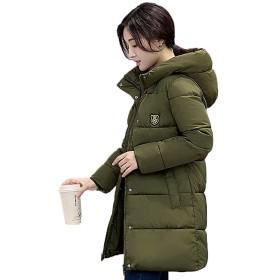 [もうほうきょう] レディースコート 中綿 ロングコート 膝丈コート 綿入りのコート 女性用コート (アーミーグレーン, 3XL)