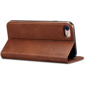 iPhone7ケース 革ケース 手帳型 カードポケット 小銭入れ 財布型 アイフォンケース 保護カバー 横開き 2つ折り 衝撃吸収 全面保護 ブラウン