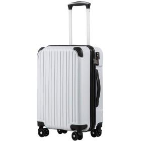[クールライフ] COOLIFE スーツケース キャリーバッグダブルキャスター 二年安心保証 機内持込 ファスナー式 人気色 超軽量 TSAローク (S サイズ(機内持ち込み), カーボンホワイト)