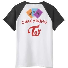 Fanstown kpop 韓流人気グループ TWICE ミニアルバム「YES or YES」の黒を肩Tシャツ+バッジ