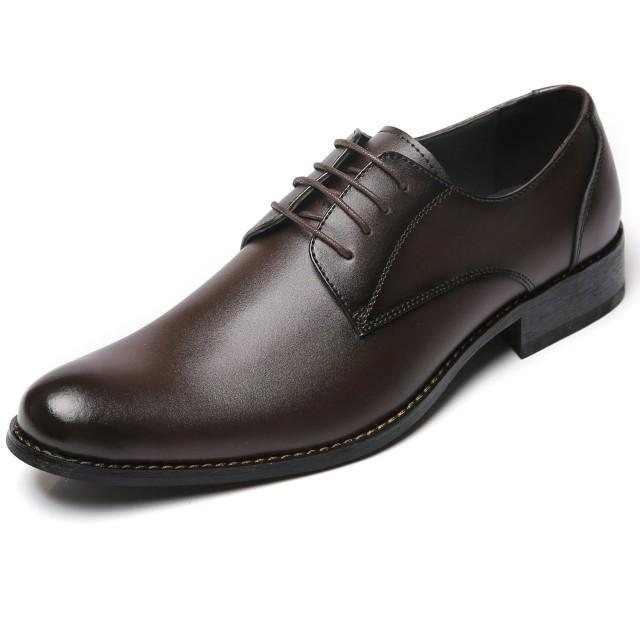 [アラモーダ] 日本製 ビジネスシューズ 本革 メンズ 革靴 紳士靴 外羽根プレーントウ 1181 ダークブラウン 25.0cm