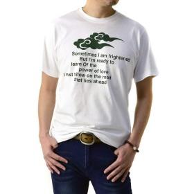 (フラグオンクルー) FLAG ON CREW 和柄Tシャツ メンズ 半袖 和風 プリント 綿コーマ糸使用 Tシャツ M L LL 3L 4L / B0S / L 雲柄・ホワイト