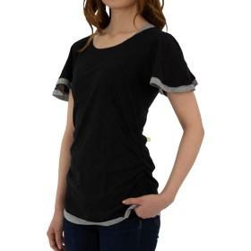 [プチハピ] フレア袖 レイヤード Tシャツ 半袖 サイドライン シャーリング 付き レディース (4.3Lサイズ, ブラック) WK-0037(BK)3L