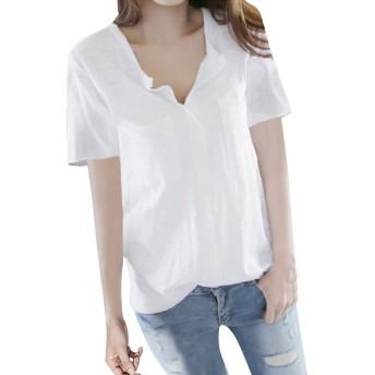 Binse シャツ レディース ブラウス コットン スキッパーシャツ 半袖 Vネック 無地トップス カジュアル ゆったり 大きいサイズ