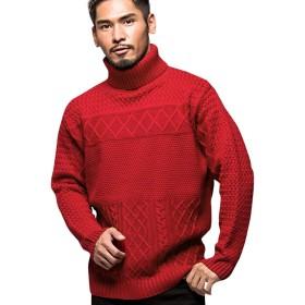 (キャバリア)CavariA メンズ セーター ニットソー タートルネック ケーブル編み 大きいサイズ 切替 46(L) 30(RED/レッド)【-】