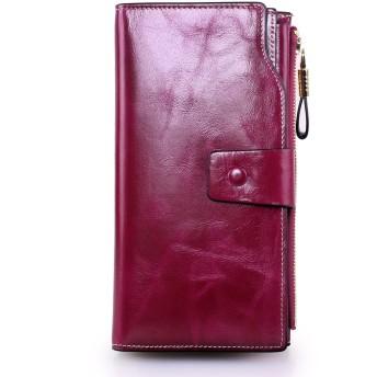 レディース財布 長財布 レディース 牛革 レザー ロングウォレット 大容量 カード入れ 21個 (袋式小銭入れ, 紫)