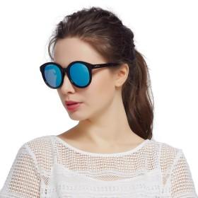 Jardin d'amour サングラスメンズレディース丸型レトロフルフィットブランドサングラス偏光UVカットおしゃれファッショビッグサングラスJS7104ブルー
