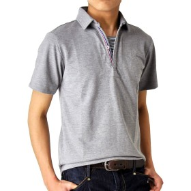 (アローナ) ARONA スキッパー ポロシャツ メンズ 半袖/M1.5/21グレー L