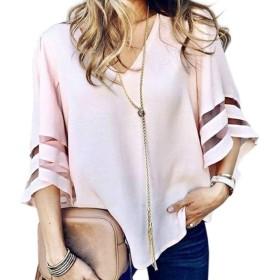 LOPNMEWQ 女性のVネックシャツフレア半袖メッシュパッチワークカジュアルルーズトップスブラウス