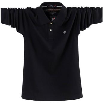 ポロシャツ長袖メンズ おしゃれゴルフウェア スポーツウェア稀少 秋冬 大きいサイズ (ブラック, 3XL)