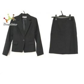 ナチュラルビューティー ベーシック スカートスーツ サイズS レディース 美品 黒×ライトグレー 新着 20190713